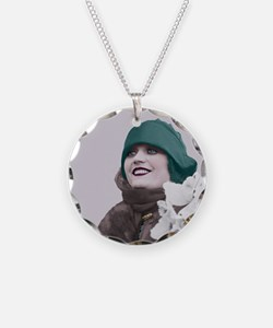 Art Deco Woman in green hat Necklace