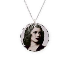 Art Deco Woman in red shirt Necklace