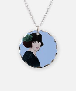 Art Deco Woman in black hat Necklace