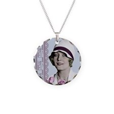 Art Deco Woman in White Hat Necklace