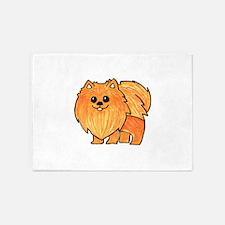 Orange Pomeranian 5'x7'Area Rug