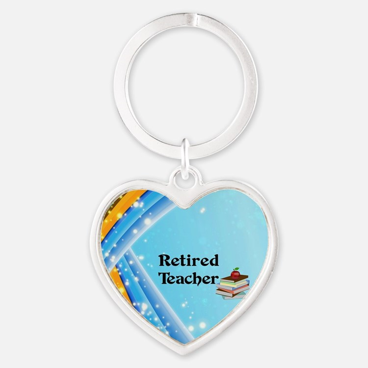Retired Teacher - school books Heart Keychain