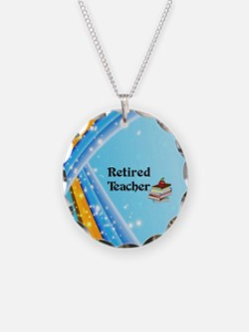 Retired Teacher - school boo Necklace