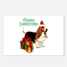 Merry Christmas Basset Postcards (package Of 8)