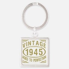 Vintage 1945 Birthday Square Keychain