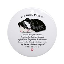 Pit Bull Prayer Round Ornament