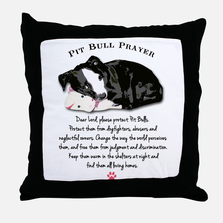Pit Bull Prayer Throw Pillow