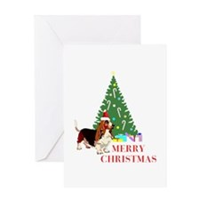Merry Christmas Basset Hound 11 Greeting Cards