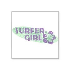 "Cute Surfing Square Sticker 3"" x 3"""