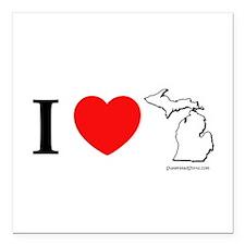"Cool Michigan heart Square Car Magnet 3"" x 3"""