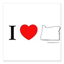 "Unique Oregon love Square Car Magnet 3"" x 3"""