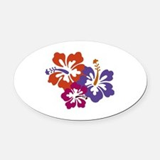 Hibiscus Bunch Oval Car Magnet