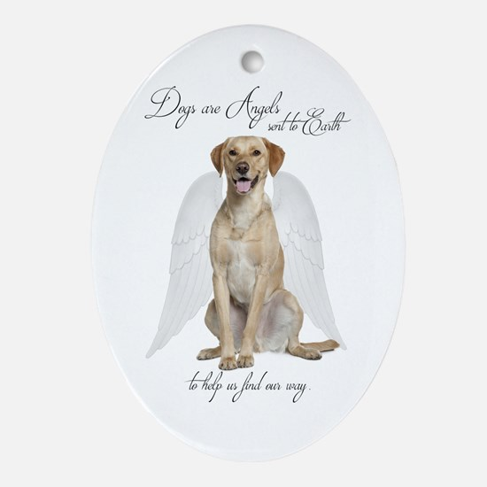 Yellow Lab Angel Oval Ornament