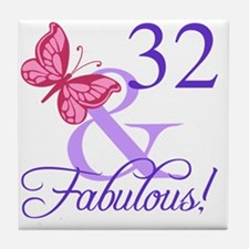 Fabulous 32nd Birthday Tile Coaster