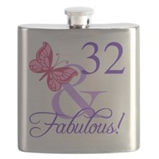 Fabulous 32nd Birthday Flask