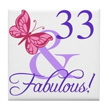 Fabulous 33rd Birthday Tile Coaster