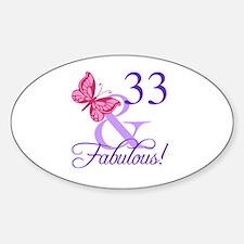 Fabulous 33rd Birthday Sticker (Oval)