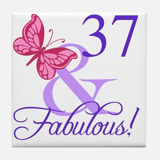 Fabulous 37th Birthday Tile Coaster