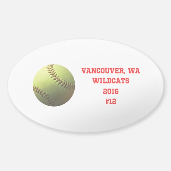 Yellow Softball Team Design Decal