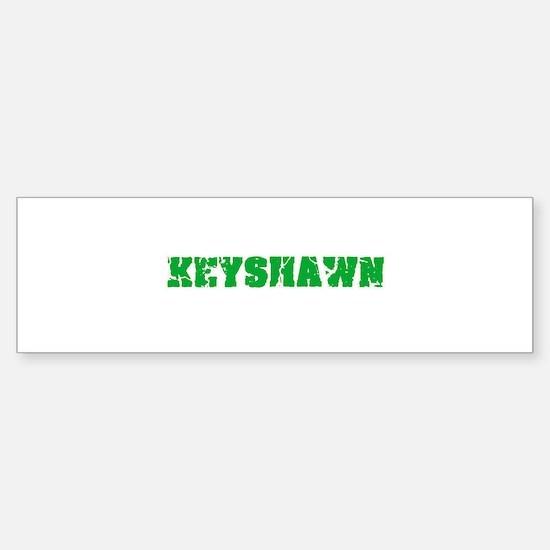 Keyshawn Name Weathered Green Desig Bumper Car Car Sticker