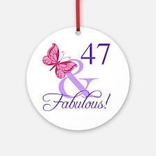 Fabulous 47th Birthday Round Ornament