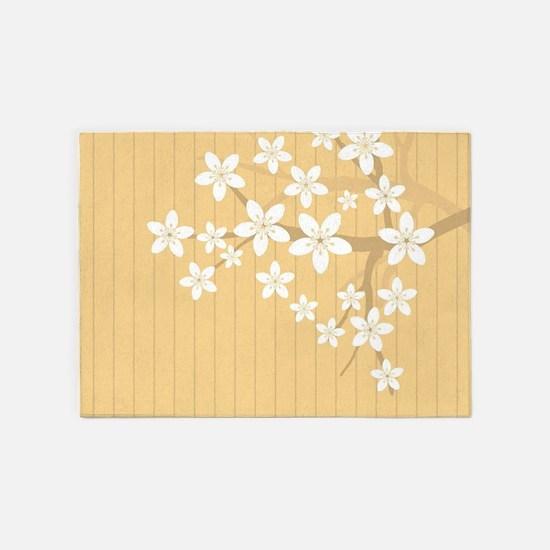 Sakura Blossom Illustration 5'x7'Area Rug