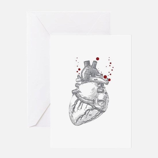 Anitomical Heart with Blood Drops Greeting Cards