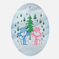 Snow Scene Oval Ornament
