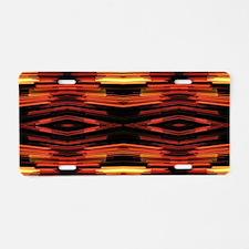 orange yellow ikat tribal p Aluminum License Plate