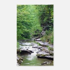 forest river scenery Area Rug