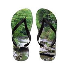 forest river scenery Flip Flops