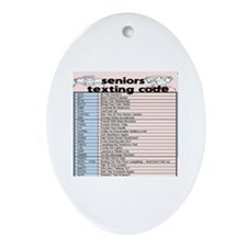 senior texting code Oval Ornament
