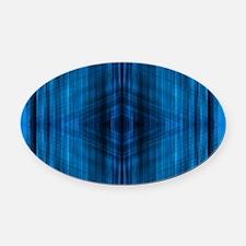 modern beach blue batik Oval Car Magnet