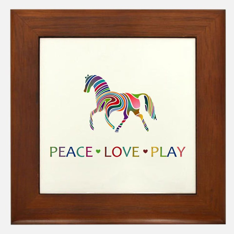 Cute Horse girls Framed Tile