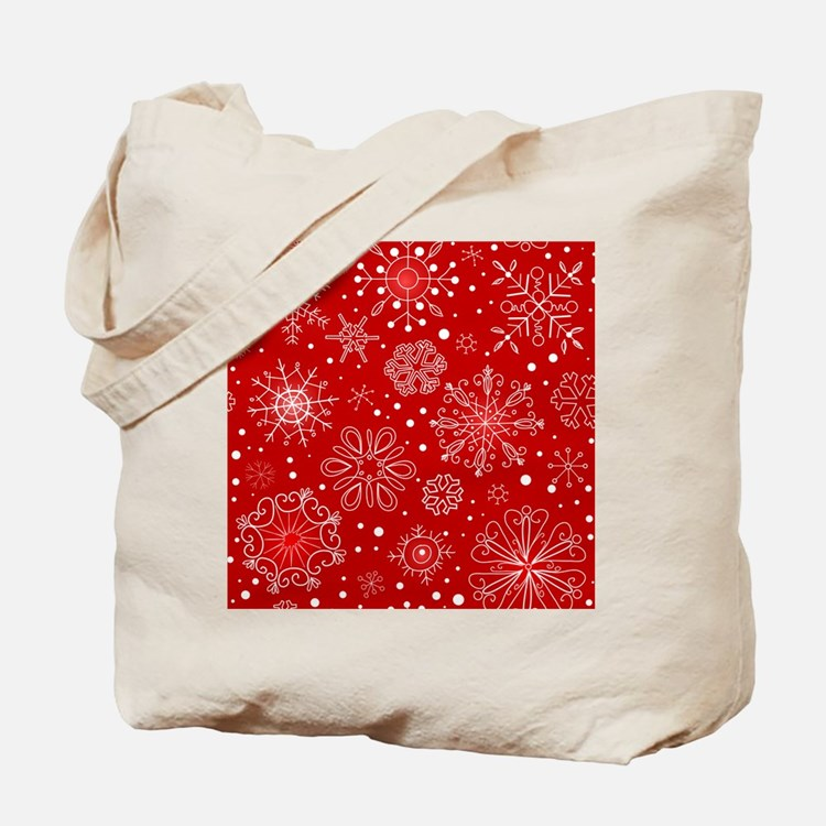 Snowflakes on Red Background Tote Bag
