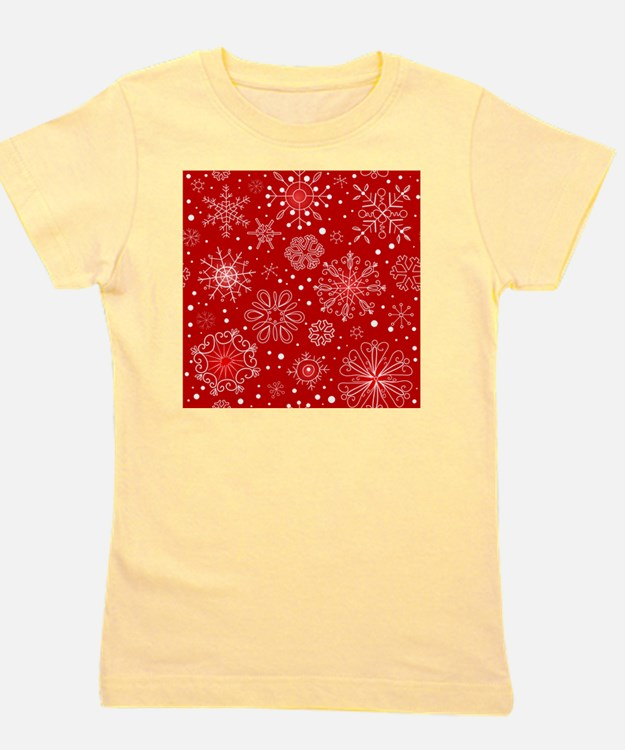 Snowflakes on Red Background Girl's Tee
