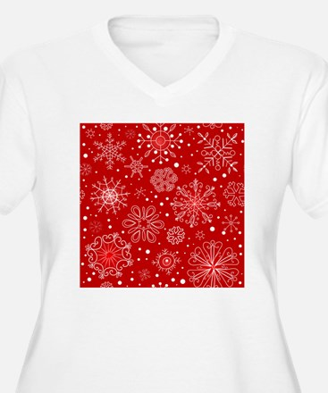 Snowflakes on Red T-Shirt