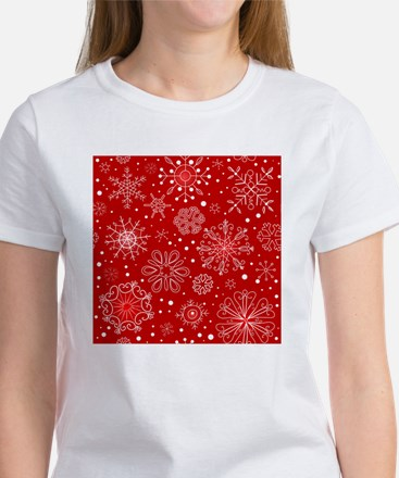 Snowflakes on Red Background Women's T-Shirt