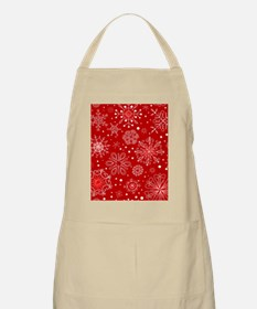 Snowflakes on Red Background Apron