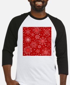 Snowflakes on Red Background Baseball Jersey