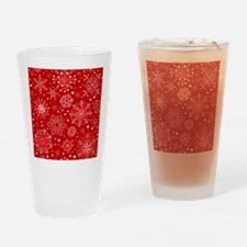 Snowflakes on Red Background Drinking Glass