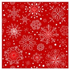 Snowflakes on Red Background Poster