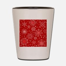 Snowflakes on Red Background Shot Glass