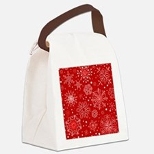 Snowflakes on Red Background Canvas Lunch Bag