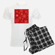 Snowflakes on Red Background Pajamas