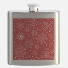 Snowflakes on Red Background Flask