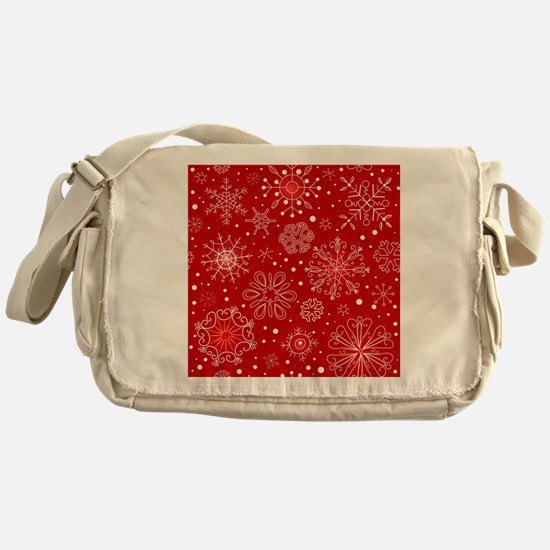 Snowflakes on Red Background Messenger Bag