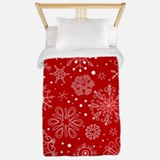Snowflakes on Red Background Twin Duvet