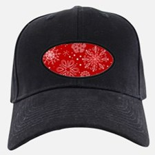 Snowflakes on Red Background Baseball Hat