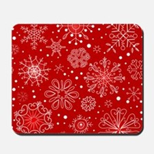 Snowflakes on Red Background Mousepad